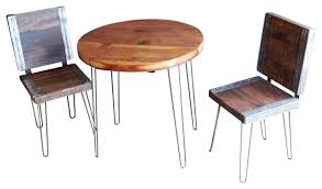 industrial restaurant furniture. Reclaimed Round Restaurant Table With 2 Industrial Chairs Rustic Patio Furniture And M
