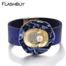 Женские кожаные <b>браслеты</b> Flashbuy, <b>черный</b>, синий цвет ...