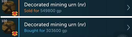 Decorated Mining Urn Jeemin's Merchz Log Merchz Runescape Merchanting 50