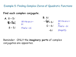 example 5 finding complex zeros of quadratic functions
