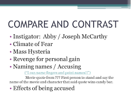essay the cruciblemccarthyism essay prompt   essay topics compare and contrast instigator abby joseph mccarthy climate of fear