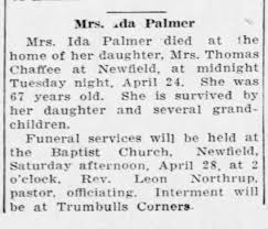 Ida Palmer - Obituary - Ithaca NY Journal - 1928-4-25 Wed - Pg 5 -  Newspapers.com