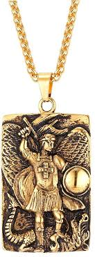 men s st michael pendant archangel religious jewelry 18k gold plated necklace 3mm chain