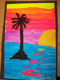 the fourth and fifth graders created these surfboard paintings for the front hall first we mixed paint to create the diffe tints we needed for the
