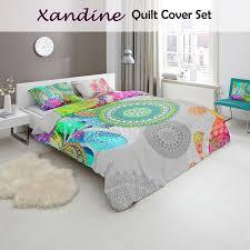 3 pce hip xandine bohemian quilt doona duvet cover set queen king