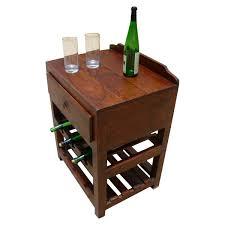 wine rack table. Varela Solid Wood Wine Rack Single Drawer Side Table
