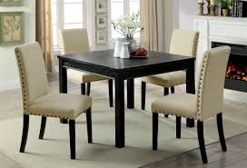 nailhead dining chairs dining room. Kristie Antique Black Finish 5pc Rustic Dining Set W/ Ivory Nailhead Trim Chairs Room S