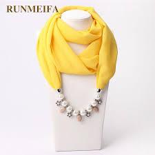 runmeifa new pendant scarf necklace muslim necklaces for women chiffon scarves pendant jewelry wrap pearls female accessories grey bandana rockabilly