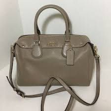 New Coach Bennett Satchel taupe Top Zip closure One inside zip pocket Two  inside open pockets Bright gold tone hardware BD  6