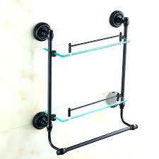shelf with towel bar glass shelf towel bars oil rubbed bronze dual tier bathroom black glass