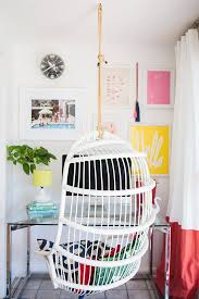 cool home office ideas retro. Bright Home Office Space With A Glass Desk, Colorful Gallery Wall, And Hanging Chair Cool Ideas Retro O