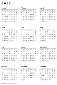 One Page Calendars 2015 Under Fontanacountryinn Com