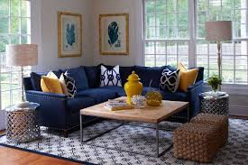 Yellow And Blue Living Room Features Blue Coral Prints In Bamboo Inspiration Navy Blue Living Room