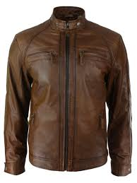 stylish retro brown color men s cafe racer real leather new motorcycle jacket 1 of 3 see more