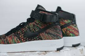 the latest installment of the nike air fore 1 mid ultra in its flyknit construction is here the always popular multicolor treatment is applied to this air force 1 flyknit