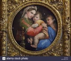 painting madonna della seggiola 1513 1514 by italian renaissance painter raphael on display in the palatine gallery galleria palatina in the palazzo