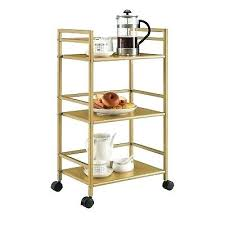 rolling serving cart rolling serving cart gold metal kitchen dining mini bar glam utility storage new