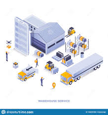 Warehouse Design Online Flat Color Modern Isometric Illustration Design Warehouse