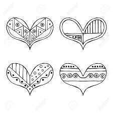 Set Di Vettore Disegnati A Mano Decorativi Stilizzati In Bianco E Nero Infantile Cuori Stile Doodle Illustrazione Grafica Disegno Lineare