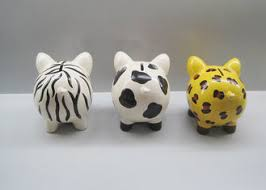 Personalized Ceramic Piggy Banks Animal Pattern Free Hand Painted Novelty Design