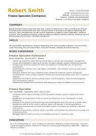 contract compliance resume finance specialist resume samples qwikresume