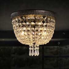 vintage round canopy clear crystal flushmount ceiling light bronze