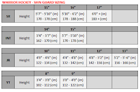 Shin Pad Size Chart Hockey Shin Guard Size Chart Warrior