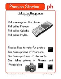 A printable worksheet designed to teach digraphs ch, ph, th, wh, sh, kn. Phil Is On The Phone Ph Phonics Stories Reading Comprehension Worksheet Have Fun Teaching