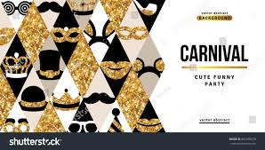 carnival party creative gold and black banner vector ilration glittering icons in rhombus