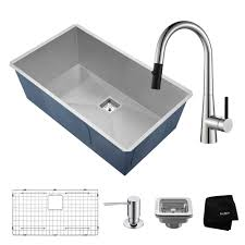 kraus pax all in one undermount stainless steel 32 in single bowl kitchen