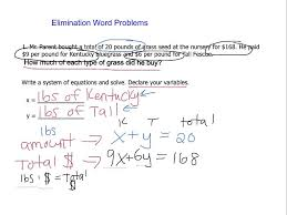 elimination method word problems