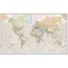 large world mural wall map