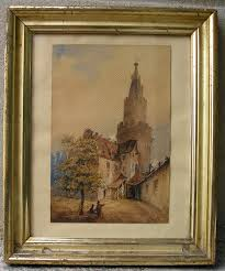meval hill town view with castle 1880 signed