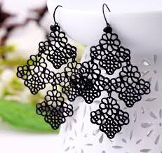 boho black filigree flower chandelier earrings