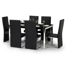 tempo dining table set  wcm  black glass  chrome   faux