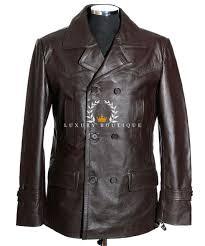 men s kriegsmarine brown ww2 german u boat reefer leather deck jacket pea coat