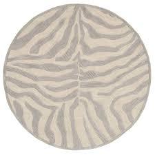 lr resources fashion taupe silver zebra 8 ft x 8 ft plush round