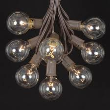 picture of 100 g50 globe light string set with clear bulbs on brown wire