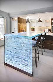 glass waterfall countertops