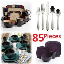 Mcleland Design 32 Pc Stoneware Dinnerware Sets Square Dinnerware Set For 8 85pcs Stoneware Kitchen 32pc Plates Bowls Dishes Mug