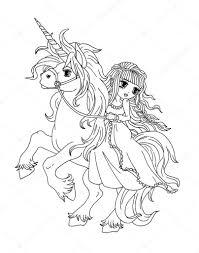 Kleurplaat De Prinses Op De Eenhoorn Stockfoto Larisakuzovkova