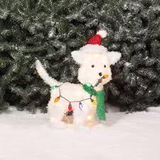 holiday time christmas decor 24 fluffy dog light sculpture walmart