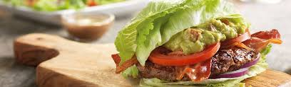 red robin logo lettuce wrapped burger with guacamole and bacon