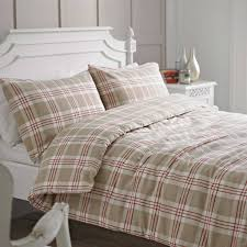 beige and red check brushed cotton duvet cover set