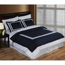 modern hotel navy blue white egyptian cotton framed duvet cover set