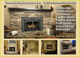 stone fireplace indoor outdoor installation for a free estimate call a stone works canada masonry installation specialist at 905 486 9836