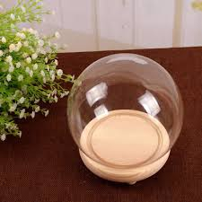 wooden base round glass display bell jar dome cloche topped free standing