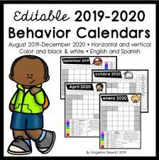 Fully Editable 2019 2020 Clip Chart Behavior Calendars
