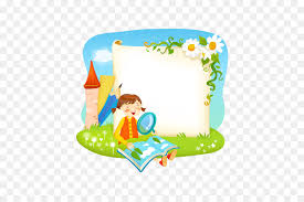 borders and frames reading book vector cartoon imageagnifying gl