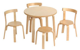 sleek oak wood childrens table and chair sets with round table and armless chairs